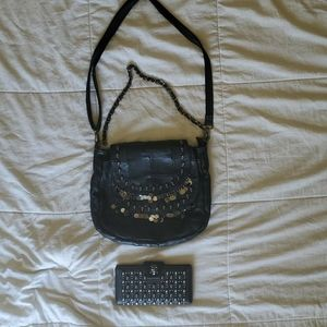 Handbags - Black Shoulder Bag with Skull Embellishments NWOT